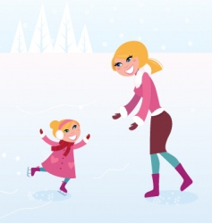 ice skating mother and child vector image