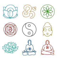 Icons yoga vector