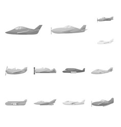 isolated object aviation and airline sign set vector image
