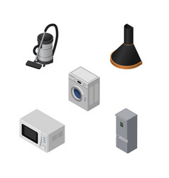 Isometric appliance set of laundry vac microwave vector
