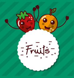 kawaii mango strawberry cartoon fruits label vector image