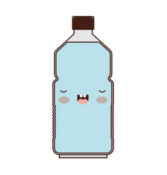 kawaii water bottle in colorful silhouette vector image