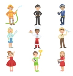 Kids With Their Future Professions Attributes vector