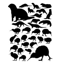 Kiwi and otter animal detail silhouettes vector