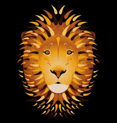 Lion portrait head cartoon style black background vector