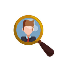 Magnifying glass tool man picture vector