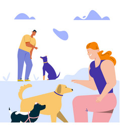 man and woman training commands with dogs playing vector image