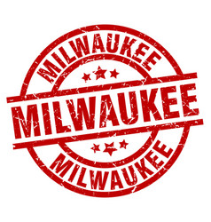 milwaukee red round grunge stamp vector image vector image