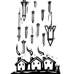 missiles over town vector image