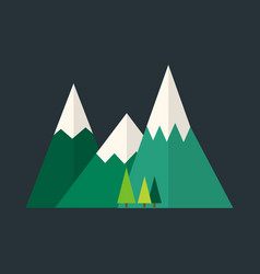 Mountain nature outdoor icon snow ice tops travel vector