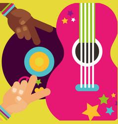 Musical guitar vinyl disc hands peace love hippie vector