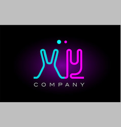 neon lights alphabet xy x y letter logo icon vector image