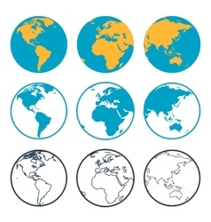 Nine globus icons vector