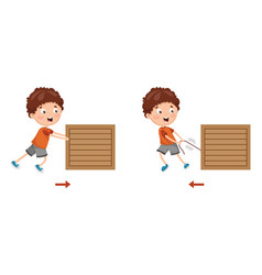 of kid pushing and pulling vector image