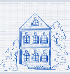 Old two-storey house with trees hand drawn sketch vector