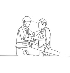 One line drawing young architect holding vector