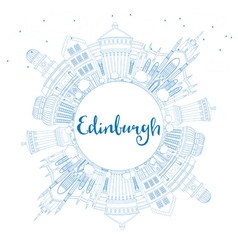 Outline Edinburgh Skyline with Blue Buildings vector