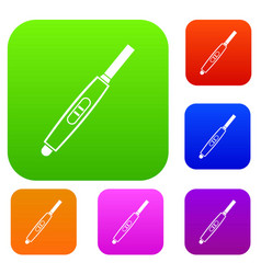 pregnancy test with positive pregnant set color vector image