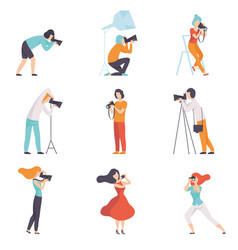 professional photographers taking photos using vector image