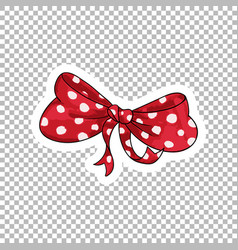 red bow hand drawn on transparent vector image