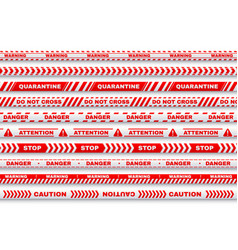 red security warning tapes with typography vector image