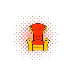 Red throne isometric comics icon vector