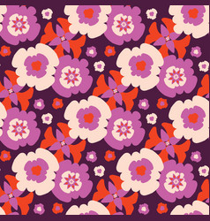 Retro bohemian daisy floral pattern hand vector
