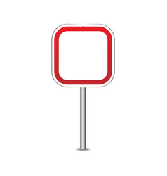 road sign blank realistic red road sign vector image