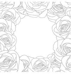 Rose border outline vector