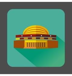 Round colorful building icon flat style vector image