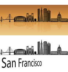 San Francisco skyline in orange vector image