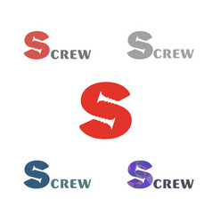 set a simple logo with a silhouette screw vector image