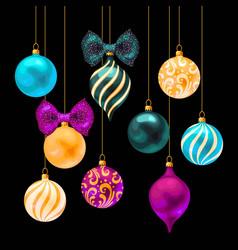 Set christmas balls on black background vector