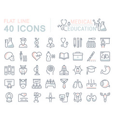 set flat line icons medical education vector image