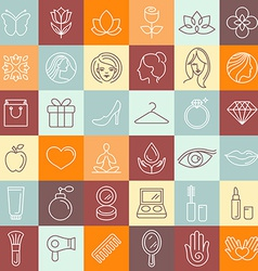 set linear icons vector image