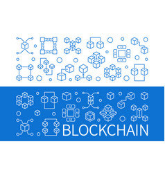 set of 2 blockchain horizontal outline vector image