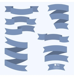 Set of blue ribbons for different designs and vector image
