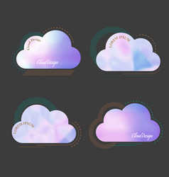 set of creative cloud with soft blurred vector image