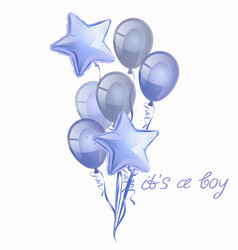 set realistic glossy blue balloons isolated vector image