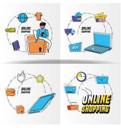 Shopping online pop art set icons vector