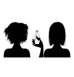 Silhouette woman with hair-dress before and after vector image
