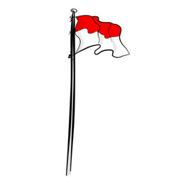 Simple hand draw sketch sketch indonesia flag vector