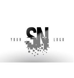 sn s n pixel letter logo with digital shattered vector image