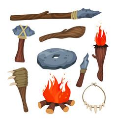 Stone age symbols set weapon and tools of caveman vector