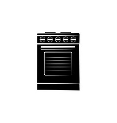 stove icon black on white background vector image