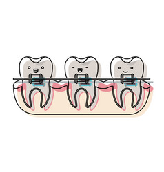 Teeth kawaii with braces in watercolor silhouette vector
