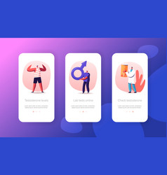 Testosterone hormonal diagnostics mobile app page vector