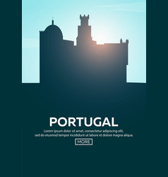 travel poster to portugal landmarks silhouettes vector image