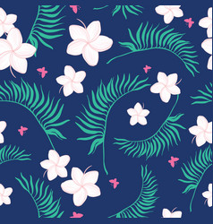 Tropical navy and pink flowers seamless pattern vector