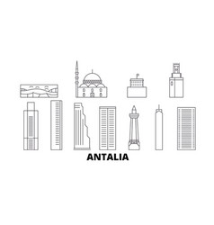 Turkey antalia line travel skyline set vector